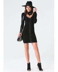 Bebe - Black Ribbed Front Zip Dress - Lyst