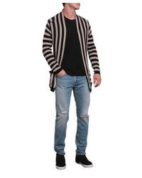Laneus - Multicolor Striped Cotton Cardigan With Belt for Men - Lyst