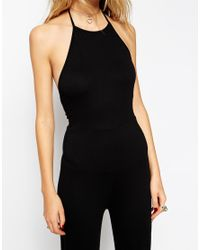 ASOS | Black Flare Jumpsuit With Halter Neck | Lyst
