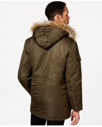 Sean John | Green Faux-fur Hooded Coat for Men | Lyst