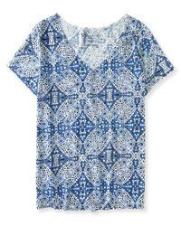 Aéropostale | Blue Oversized Mosaic Slub-knit V-neck Tee | Lyst