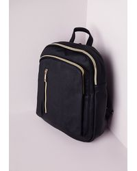 Missguided - Rounded Zip Detail Backpack Black - Lyst
