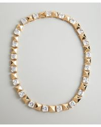 Noir Jewelry | Metallic Gold And Crystal Studded Necklace | Lyst