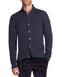 Saks Fifth Avenue - Blue Pima Cotton Knit Cardigan for Men - Lyst