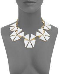 Trina Turk - White Geo Flower Statement Necklace - Lyst