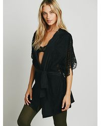 Free People - Black Pillow Talk Robe - Lyst