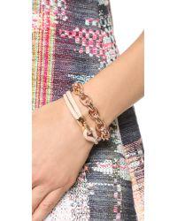 Michael Kors - Metallic Leather Hook & Eye Bracelet - Lyst