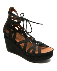 Gentle Souls | Black Joy Nubuck Leather Platform Wedge Sandals | Lyst