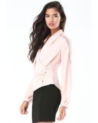 Bebe | Pink Lace Trim Wrap Blouse | Lyst