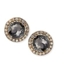 Suzanne Kalan | Metallic 14K Yellow Gold Black Night Quartz & Champagne Diamond Stud Earrings | Lyst