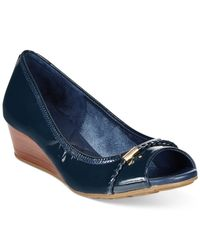 Cole Haan | Blue Tali Open Toe Wedges | Lyst