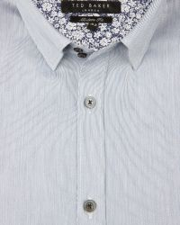 Ted Baker - Blue Striped Satin Shirt for Men - Lyst