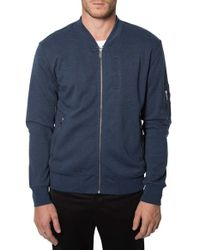7 Diamonds | Blue 'ancona' Knit Bomber Jacket for Men | Lyst