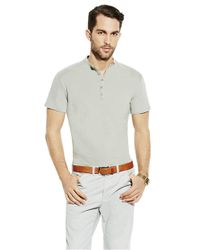 Vince Camuto | Gray Slim Fit Henley for Men | Lyst
