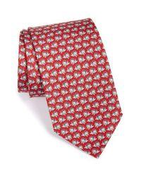 Ferragamo - Red Lion Print Silk Tie for Men - Lyst