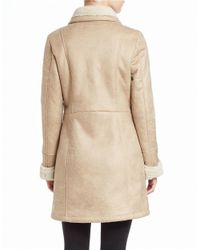 7 For All Mankind - Natural Faux Shearling-trimmed Faux Suede Coat - Lyst