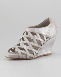 Eileen Fisher - Gray Metallic Suede Strappy Cage Sandal Palladium - Lyst