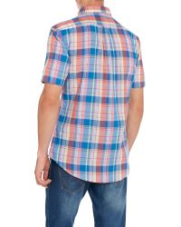Farah - Blue Wylam Slim Fit Short Sleeve Check Shirt for Men - Lyst