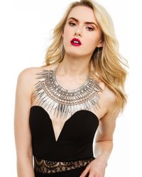 Akira Black Label | Metallic Epic Statement Antique Silver Necklace & Earring Set | Lyst