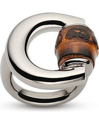 Gucci | Metallic Horsebit Bamboo-detail Sterling Silver Ring | Lyst