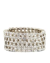 Anne Klein | Metallic Silvertone Wide Stretch Crystal Encrusted Bracelet | Lyst