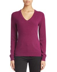 Lord & Taylor - Purple Plus Basic V-neck Cashmere Sweater - Lyst
