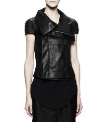 Rick Owens - Shortsleeve Biker Leather Jacket with Studs Black - Lyst