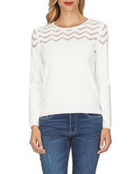 Cece by Cynthia Steffe | Natural Pointelle Chevron Stripe Crewneck Sweater | Lyst