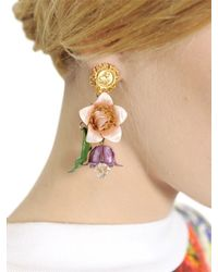 Dolce & Gabbana | Pink Hand Painted Gold Plated Earrings | Lyst