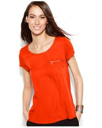 INC International Concepts | Red Zip-pocket Tee | Lyst