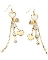Guess - Metallic Heart Charm Linear Earrings - Lyst