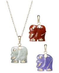 Macy's | Metallic 14k Gold Necklace Set, Dyed Jade Elephant Pendant Set | Lyst