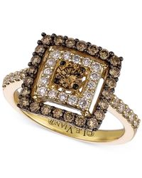 Le Vian | Brown Chocolate And White Diamond Square Ring In 14k Gold (1 Ct. T.w.) | Lyst