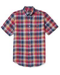 Polo Ralph Lauren | Red Slim-Fit Checked Linen Shirt for Men | Lyst