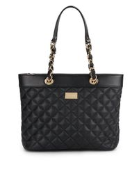 St. John | Black Quilted Leather Tote Bag | Lyst