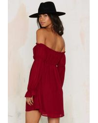 Nasty Gal | Red Just Romancin' Off-the-shoulder Dress - Burgundy | Lyst