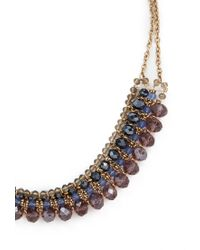 Forever 21 - Purple Beaded Bib Necklace - Lyst