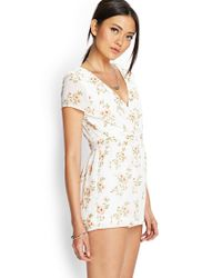 Forever 21 - Natural Pleated Floral Surplice Romper - Lyst