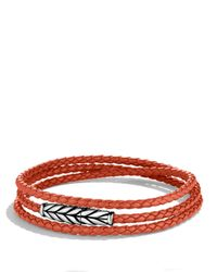 David Yurman | Metallic Chevron Triple-Wrap Bracelet In Orange for Men | Lyst
