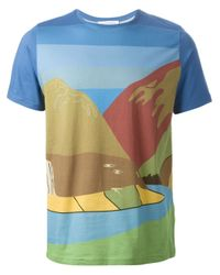 J.W.Anderson | Blue White Horse Landscape Print T-Shirt for Men | Lyst