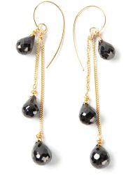 Uzerai Edits | Black 24kt Gold Vermeil Spinel Long Earrings | Lyst