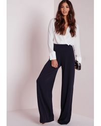 9117215edb2d0 Lyst - Missguided Crepe Wide Leg Trousers Navy in Blue