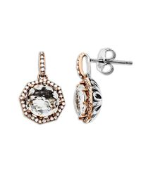 Lord & Taylor | Pink White Quartz And Diamond Accented Earrings In Sterling Silver With 14k Rose Gold | Lyst