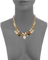 Cara | Black Multi-stone Goldtone Collar Necklace | Lyst