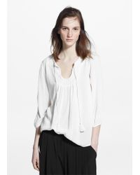 Mango - White Embroidered Cord Blouse - Lyst