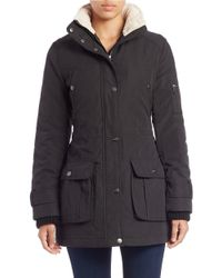 DKNY | Black Plus Rugged Faux Fur-trimmed Coat | Lyst