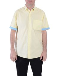 Double Two | Yellow Plain Classic Fit Button Down Shirt for Men | Lyst