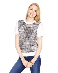 kate spade new york | Natural Tweed Front Short Sleeve Sweater | Lyst