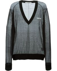 Givenchy | Black Sheer V-neck Sweater for Men | Lyst