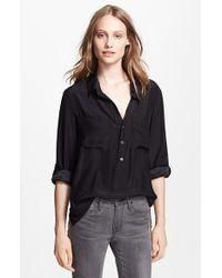 97ac0ae7e07c53 Lyst - Frame  le Boyfriend  Washed Silk Charmeuse Shirt in Black